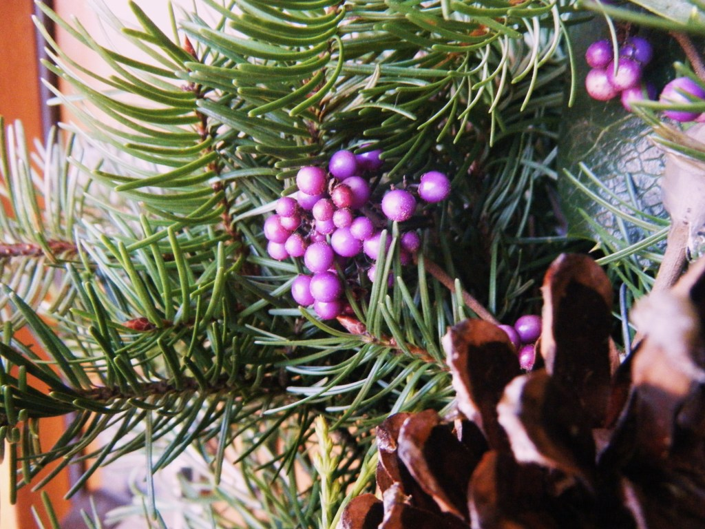 Beautyberries in the Christmas wreath