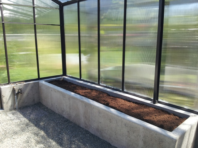 Fresh soil in the greenhouse